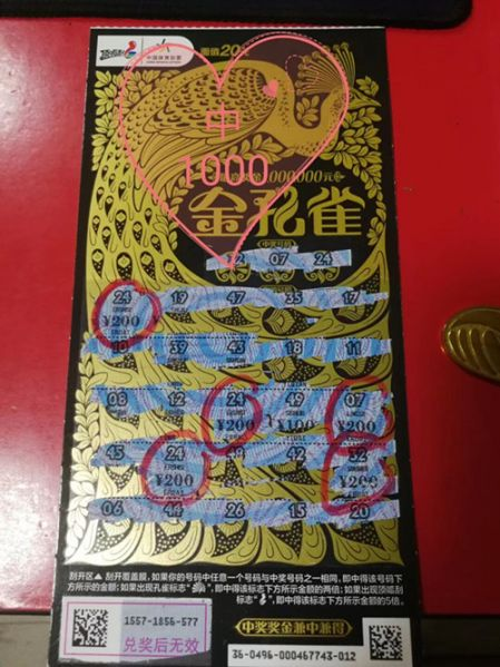 """整本包圆 常州购彩者中""""金孔雀""""1000元和金条_副本.jpg"""